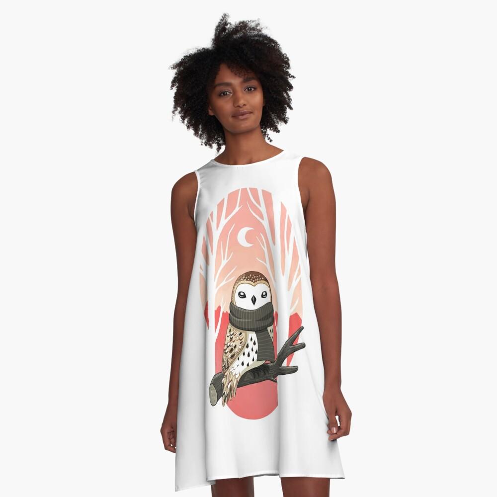 Winter Owl A-Line Dress