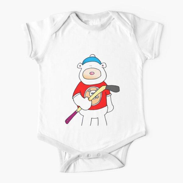 Hockey polar bear Short Sleeve Baby One-Piece