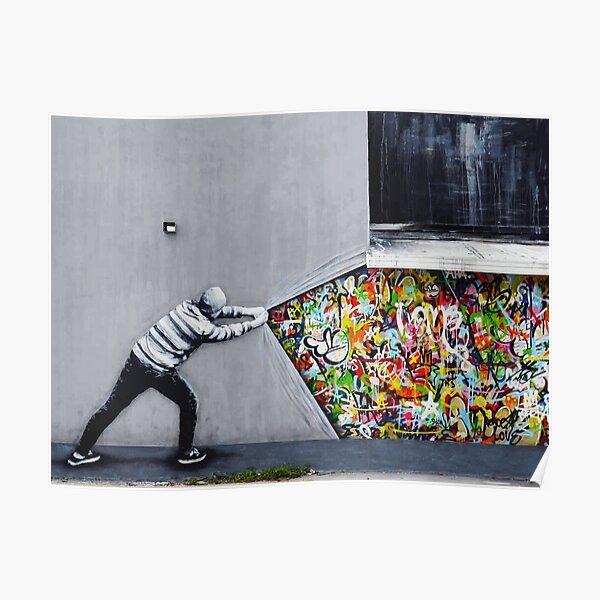 Banksy uncovering graffiti Poster