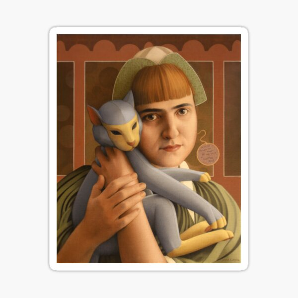 Girl With A Toy Cat Sticker