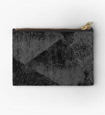 Black/ Dark Gray Geometric Ink Texture  Studio Pouch