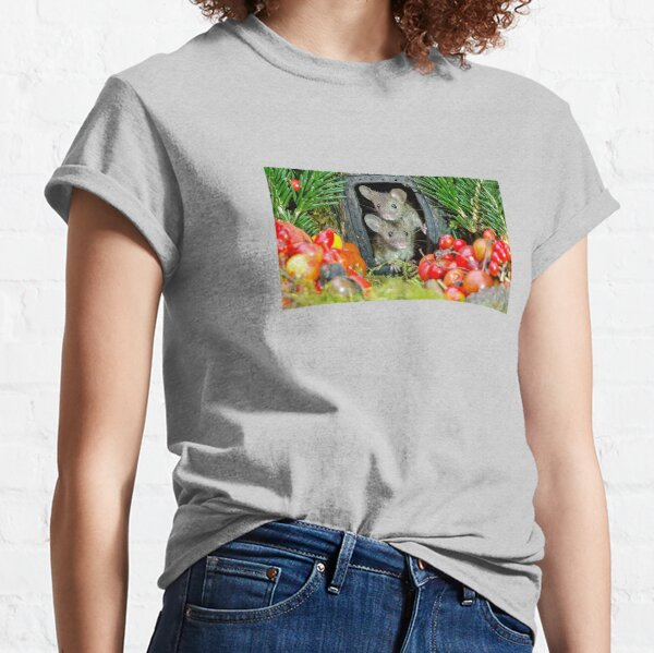 two wild garden house mice in a log home Classic T-Shirt