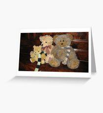 Boy & Girl Teddy with Pooh Bear. Greeting Card