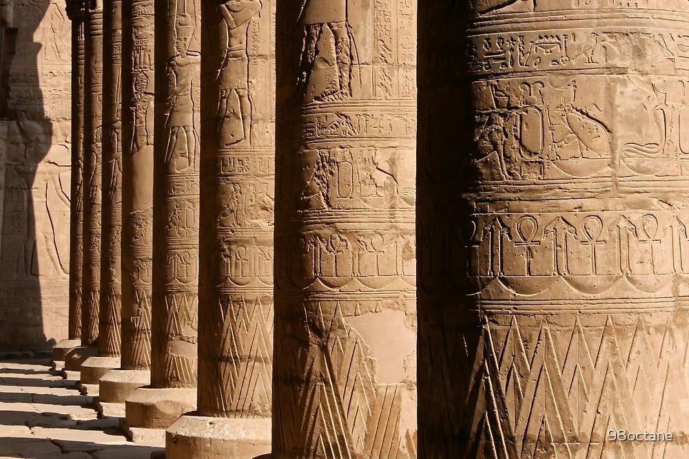 Columns of hieroglyphics, Edfu Temple of Horus by 98octane