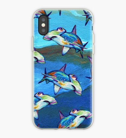 BLUE HAMMERHEAD SHARK AND WAVES PATTERN by ROBERT PHELPS iPhone Case