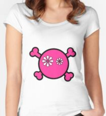 Funny pink skull and bones Women's Fitted Scoop T-Shirt