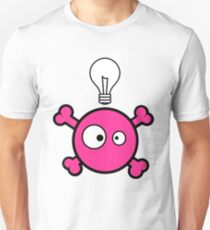 Funny pink skull and bones with ideea light bulb T-Shirt