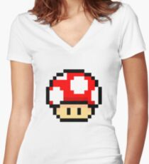 Red Mario Mushroom Women's Fitted V-Neck T-Shirt