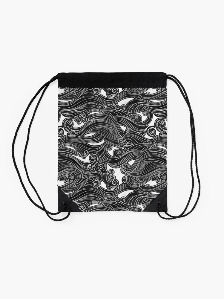 Alternate view of Black Wave Drawstring Bag