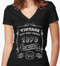 Vintage 1979 - 40th Birthday Gift Idea Women's Fitted V-Neck T-Shirt