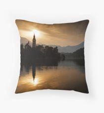 Sunrise at Lake Bled Throw Pillow