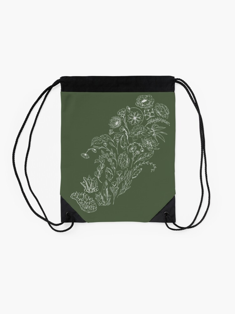 Alternate view of Crystals & Flowers (White) Drawstring Bag