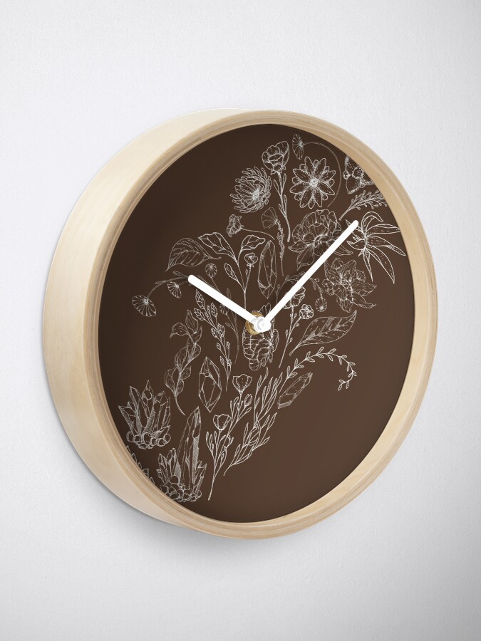 Alternate view of Crystals & Flowers (White/Brown) Clock
