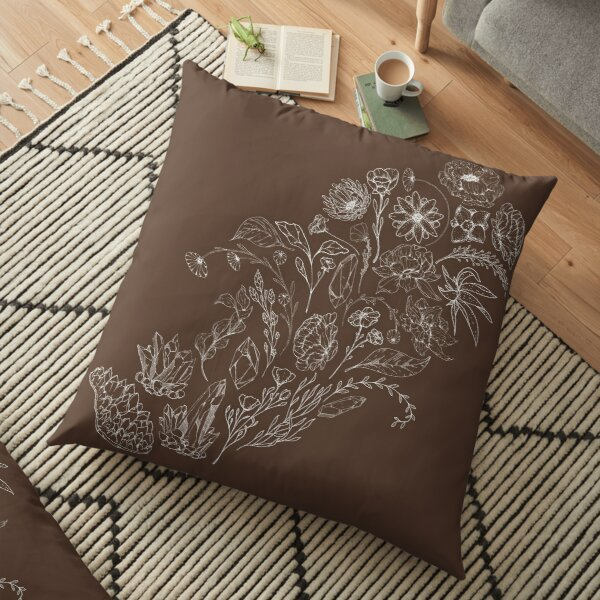 Crystals & Flowers (White/Brown) Floor Pillow