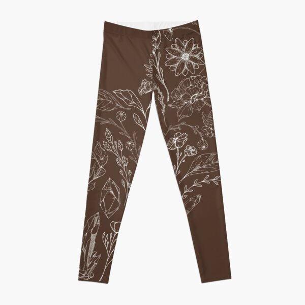 Crystals & Flowers (White/Brown) Leggings