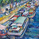 Houseboats on the Seine by Tracy Sabin