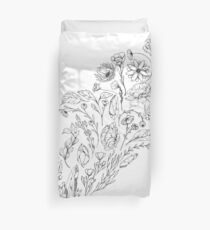 Crystals & Flowers (B&W) Duvet Cover