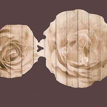 Vintage roses on wooden wall - trend design by Myriala