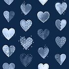 Denim Patch Boro Embroidery Hearts  by Markéta Stengl