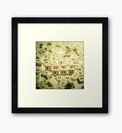 I Love You Scrabble Jumble. Framed Print