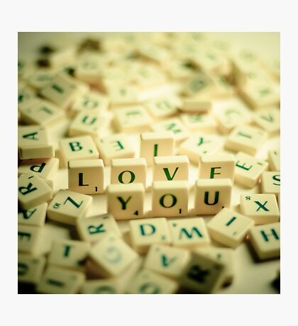 I Love You Scrabble Jumble. Photographic Print