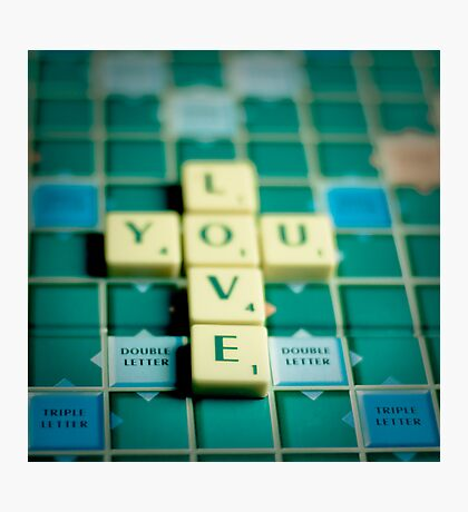 Love You Scrabble. Photographic Print