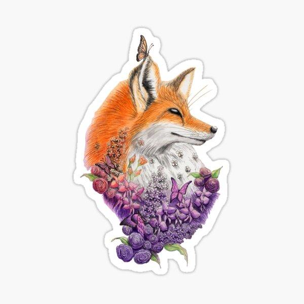 Fox and Flowers Sticker
