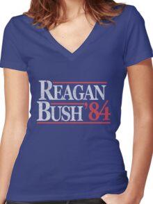 Vintage Reagan Bush 1984 T-Shirt Women's Fitted V-Neck T-Shirt