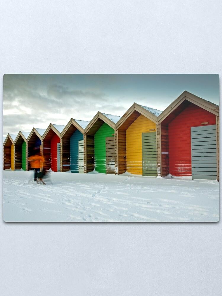 Alternate view of Beach huts Metal Print