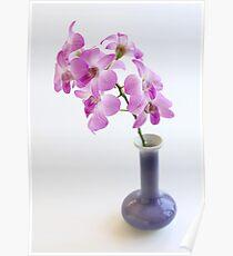 dendrobium in blue vase Poster