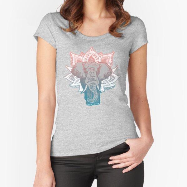 Lotus Elephant Mandala Fitted Scoop T-Shirt
