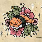 Nigiri Sushi with Flowers by MoxxiFoxxy