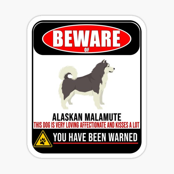 Beware Of Alaskan Malamute This Dog Is Loving and Kisses A Lot Sign Sticker - Funny Gift For Alaskan Malamute Dog Owner Sticker