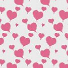 Pink Textured Floating Hearts by Missman