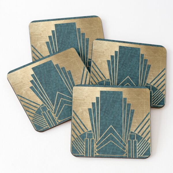 Art Deco glamour - teal and gold Coasters (Set of 4)