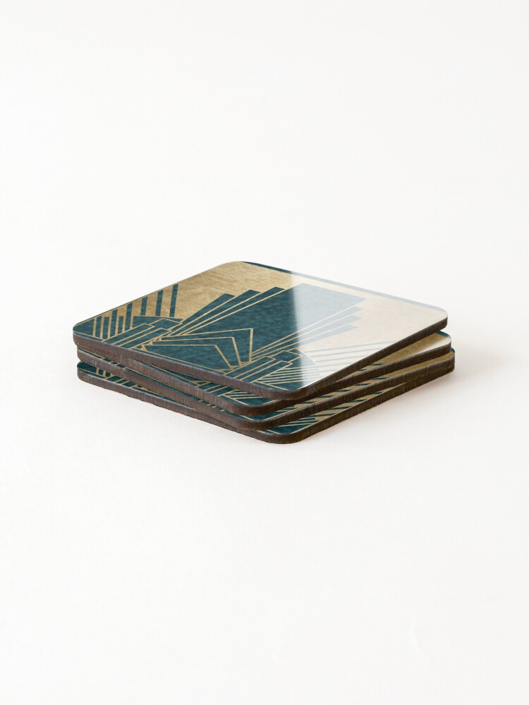 Alternate view of Art Deco glamour - teal and gold Coasters (Set of 4)
