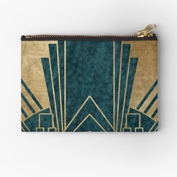 Art Deco glamour - teal and gold Zipper Pouch