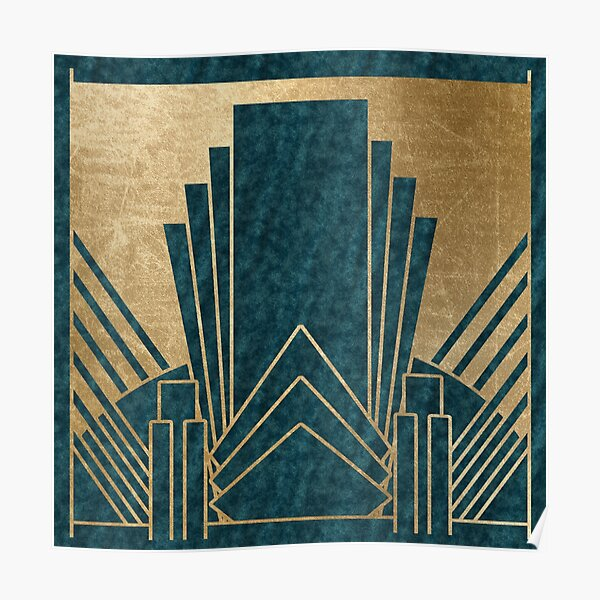 Art Deco glamour - teal and gold Poster