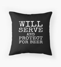 Funny Police Officer Policeman Policewoman Cop Beer  Throw Pillow