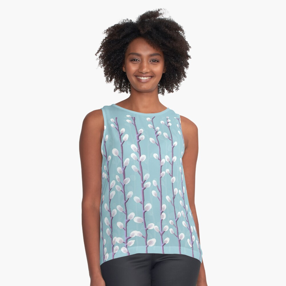 Design 74 - Pussywillows Contrast Tank Front