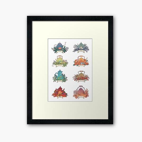 The Wheel of the Year: teapots Framed Art Print