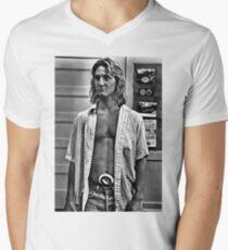 Camiseta de cuello en V Arte de la vendimia - Jeff Spicoli