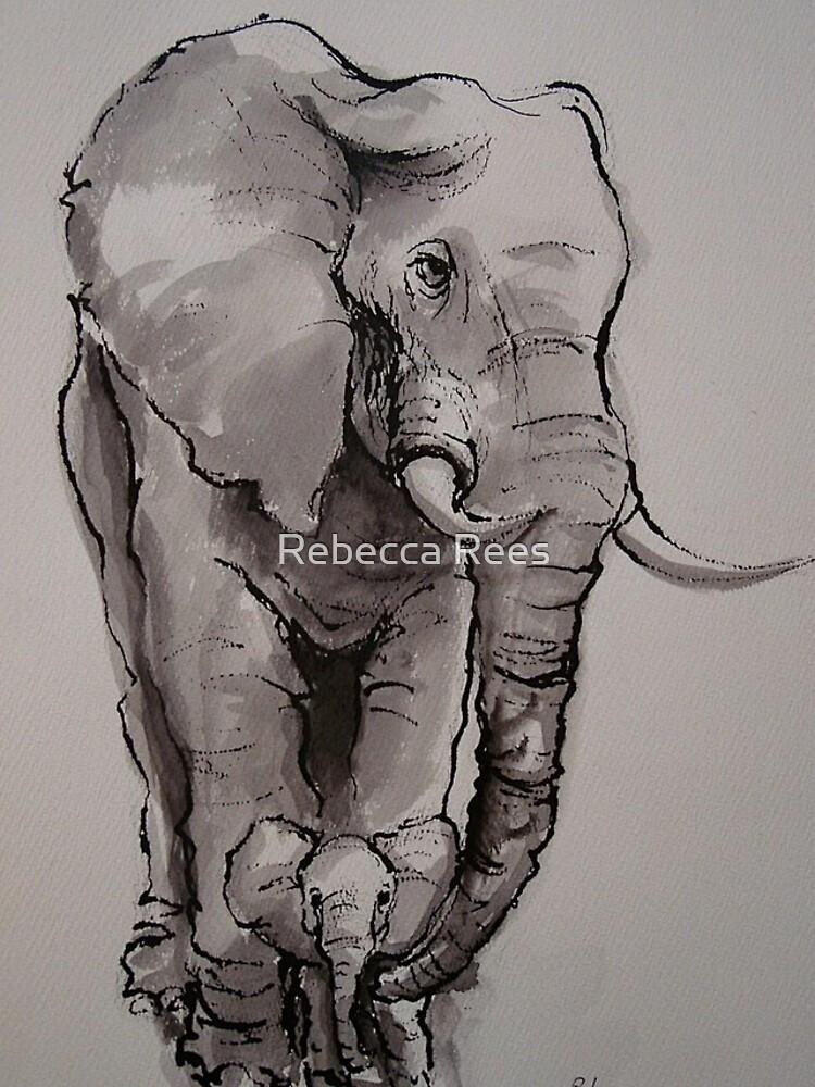 Mama Elephant & Baby - Tintenwaschmalerei auf Vintage-Papier von tranquilwaters