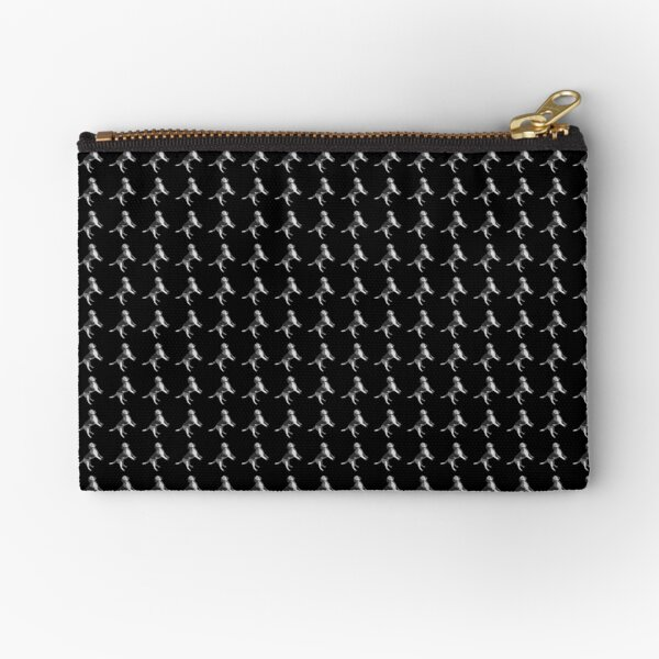 Houndstooth and the rest of the hound too - black white Zipper Pouch