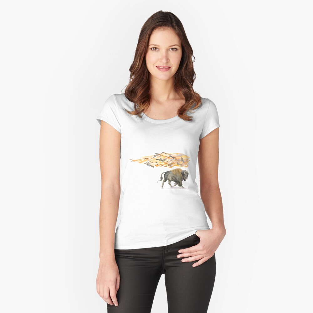 Keeper of Lands I Women's Fitted Scoop T-Shirt Front