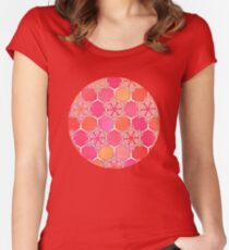 Pink Spice Honeycomb - Doodle Hexagon Pattern  Women's Fitted Scoop T-Shirt