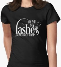 Love my lashes - Ask me about them - White Design Younique Inspired Womens Fitted T-Shirt