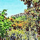 View of Santa Maria Talao among the leaves of the trees by Giuseppe Cocco