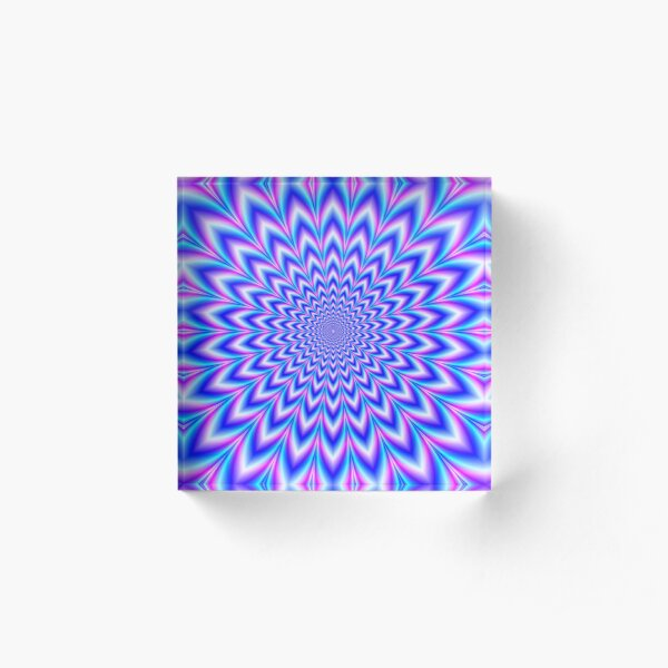 Psychedelic Pulse in Blue and Pink Acrylic Block