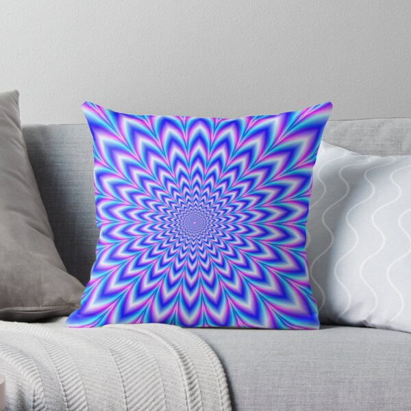 Psychedelic Pulse in Blue and Pink Throw Pillow